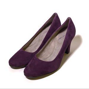 Purple Suede Aerosole's Heel Rest Pumps